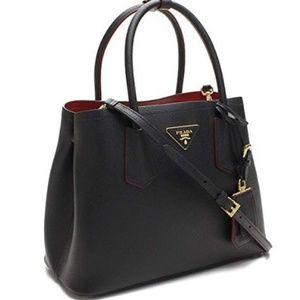 13ba8e7809f Prada. Prada Saffiano Cuir medium double tote bag black